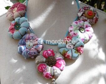 "Textile, fabric, buttons, unique, ""Shabby"" chic necklace"