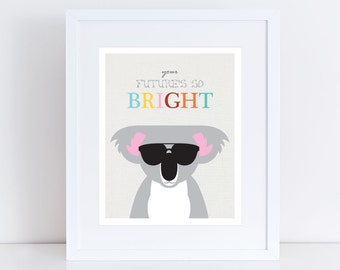 koala bear nursery art print, australian animal art, colourful sunnies, children's room decor, kids art baby girl or boy your futures bright