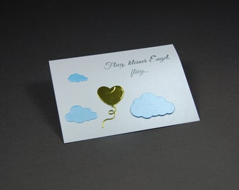 """Funeral card for a deceased child """"Balloon"""""""