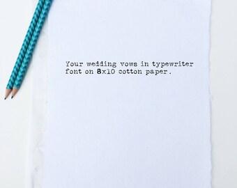 2nd Anniversary Gift for Man | Cotton Anniversary Gift for Man | Wedding Vow Print | Custom Typewriter Print | Wedding Vow Renewal Gift