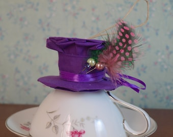 Mad Hatter Hat style ornament Cheshire Cat wedding bridesmaid gift can be made in wedding colors