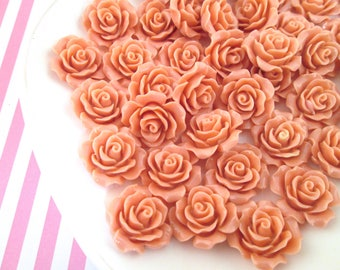10 Coral Pink Rose Cabochons 20mm