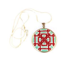 DIY Needlepoint Jewelry Kits: Knotwork Round Pendant