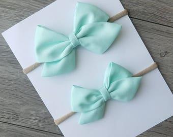 mint sailor bow, fabric mint bow, light mint bow, light mint sailor bow, big sailor,