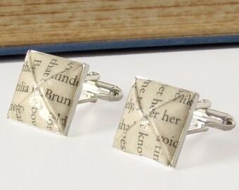 Paper Anniversary Cufflinks, Literary Origami Cufflinks