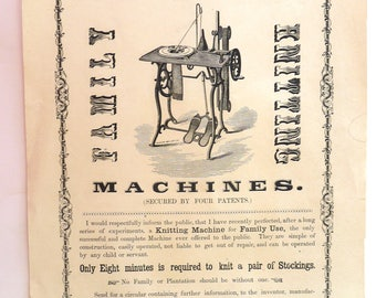 J B Aiken Family Knitting Machines Manchester NH antique advertising broadsheet 1855 ephemera Franklin historical paper womens home artes
