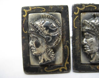 Shabby Trojan Soldier Roman Cuff Links Silver Black Gold Vintage Shields