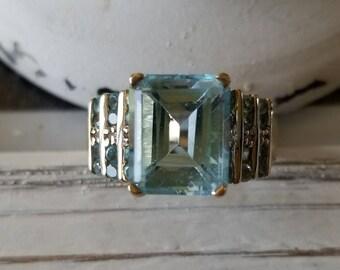 Estate Blue Topaz Statement Ring