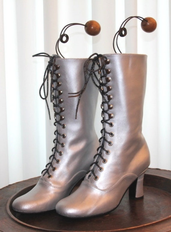 Retro Boots, Granny Boots, 70s Boots Victorian Boots  Metallic Boots  Silver Wedding Boots  Edwardian Boots  Silver Ankle Boots  OOAK Boots  Bridal boots $211.69 AT vintagedancer.com