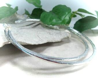 Hoop Earrings Sterling Silver Chisled - 1 inch hoops, 2 inch hoops, 3 inch hoops, big hoops, small hoops, post hoop earrings