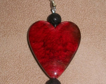 Blood Red Heart Pendant with Natural Black Volcanic Lava Rock Beads, Pendant Necklace on a Black 26 inch Suede Cord, by Brendas Beading