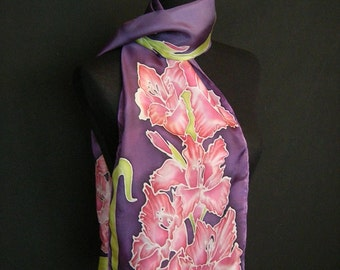 Hand Painted Gladiola Silk Scarf **Made to Order**