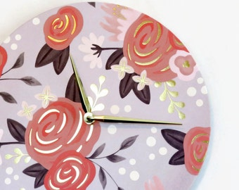 Floral Wall Clock, Gold Foil Wall Decor Eco Home and Living