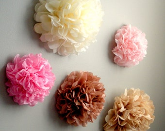 5 Tissue Paper Pom Pom Wall Flowers...choose your colors...nursery wall decor