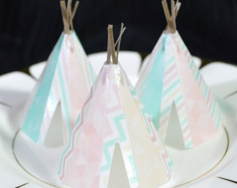 Edible Teepee's 3D x 5 Boho Mint Cream Pink Tipi Wafer Paper Bohemian Wedding Cake Decorations Wild One Rustic Birthday Cupcake Toppers