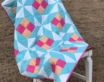 Handmade Lap Quilt-Geometric turquoise, pink, orange and white