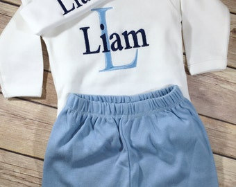 Baby Boy Coming Home OUTFIT, Baby Boy Clothes, Baby Shower Gift, Personalized Take Home Outfit Newborn Boy Photo Prop, baby boy outfit