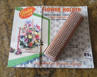 Vintage Lead and Copper Flower Frog with Original Packaging