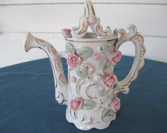 Vintage White & Pink Bone China Watering Can Vintage French Country Decor Vintage Bone China Vintage Figurine Vintage Home Decor