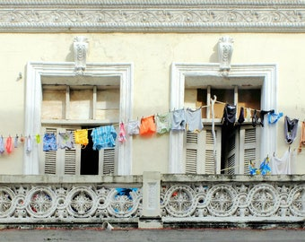 "Cuba photography old vintage house clothesline street photography  - ""Laundry day"" 8 x 10 inches"