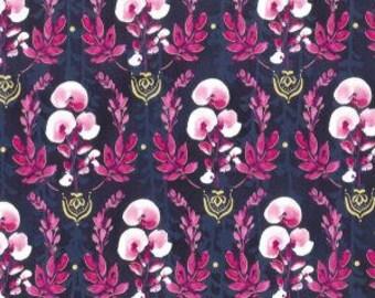Pink Floral, Gold Metallic elements, Scatter Joy, Kathy Davis, Blue, Pink, 100% Quilting Cotton Fabric