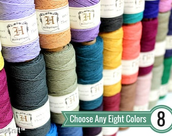 BULK DEAL - Choose Any 8 (Eight) Solid Color Spools of 1mm Hemptique™ Brand Hemp Twine - Eco-Friendly, Colorfast, and Biodegradable!