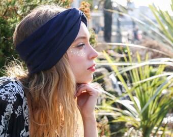 Navy Turban Headband, Boho Headband, Navy Headband, Hippie Hair Accessory