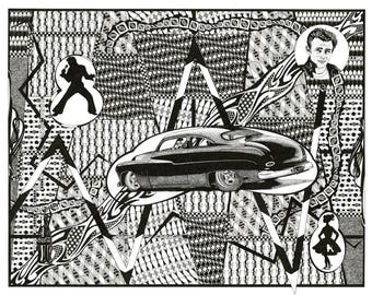 1949 Mercury Coupe - Chopped James Dean Elvis Presley Poodle Skirt Pin Striping Coke Bottle Pen and Ink