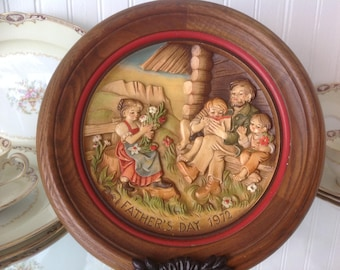 Vintage Anri 1972 Wood Fathers Day Plate