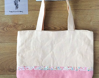 Two-tone natural linen tote bag
