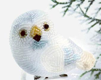 Snowy Owl Christmas Ornament Beaded Clip-On Bird Holiday Decoration Christmas Decor Hostess Gift  *READY TO SHIP