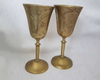 Vintage indian plated pair of goblets - unpolished