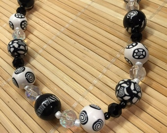 Black and White Beaded Statement Necklace - Polymer Clay Handmade Women's Jewelry