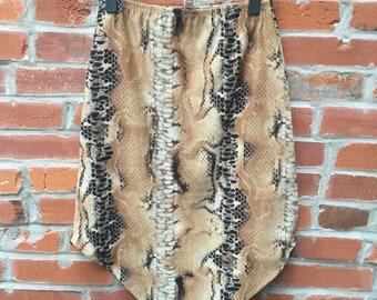 Vintage 90s Tan Snakeskin Print Handkerchief Hem Skirt Womens