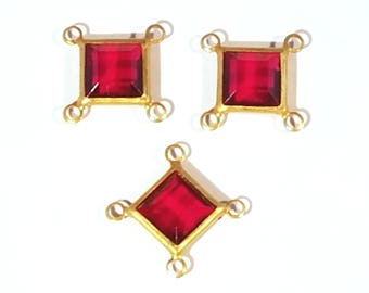 Vintage Swarovski Brass and Red Faceted Stone Connectors
