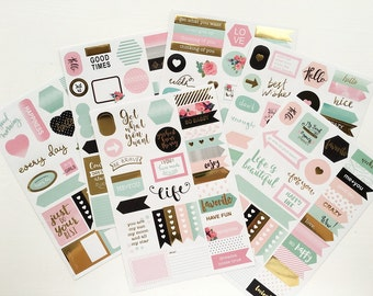 6 pcs Inspirational Stickers Gold Foil Stickers / Planner Stickers Set