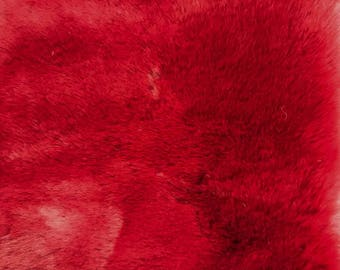 """Red -2 CM Short Pile Winter Rabbit Faux Fur  59""""Fabric by the Yard- Style 5044"""