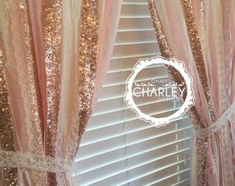 clat de couleur p che rose et or paillettes tissu toile de. Black Bedroom Furniture Sets. Home Design Ideas