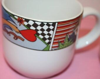 Vitromaster Metropolitan 1991 Set 4 Mugs Coffee Mugs Colorful Graphics