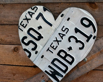 Texas 1978 1984 Vintage License Plate Heart