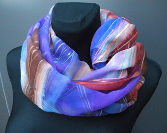 """Large hand painted silk scarf in purple, white, red, brown """"Elegance"""". OOAK silk chiffon shawl gift for her."""