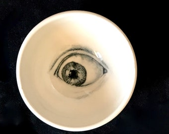 Porcelain Eye Bowl, Drawing of an Eye on a Handmade Bowl, White and Black Pottery,