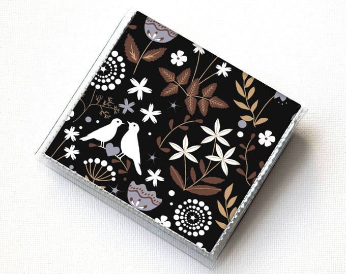 Vinyl Moo Square Card Holder - Autumn Flora / vinyl, snap, mini card case, moo case, small, square, gift, floral, flower, bird, forest