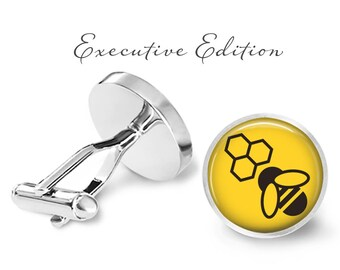Bee Cufflinks - Bee Keeper Cuff Links - Honeybee Cufflinks - Honeycomb Cufflink Set (Pair) Lifetime Guarantee (S0825)