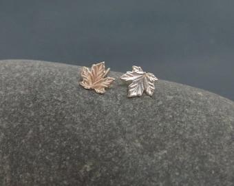 Maple leaf earrings, autumn earrings, fall leaf earrings, sterling silver stud earrings