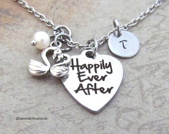 Happily Ever After Two Swans Charm Necklace Personalized Hand Stamped Initial Monogram Birthstone Love Swans Charm Necklace