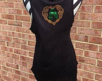 Irish Dance Tank Top with wonderful Spangle Design Ghillies in Heart, Perfect for Practice