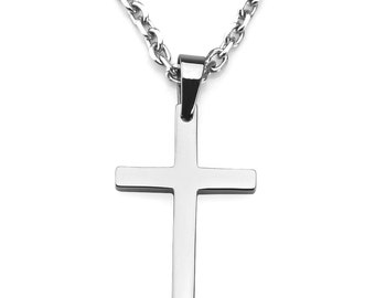 Men's Highly Polished Stainless Steel Cross Pendant and Cable Link Chain Necklace Set