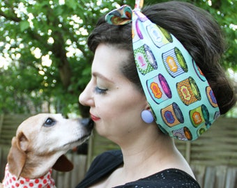 CAT FOOD tins/ Polka dot Head Scarf/ dolly bow/ bandana. 50s housewife inspired, Retro/ Rockabilly/ Vintage