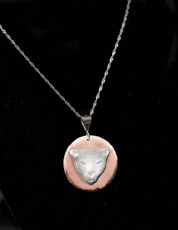 Fine Silver Cheetah, Silver on Copper, 999 Silver Cheetah, Medallion Necklace, Cat Necklace, Cheetah, Animal Necklace, Large Cat, Feline.